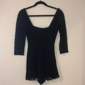 Kimchi Blue Black Lace 3/4 Sleeve Romper